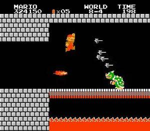 Ingen mening att visa sig innan Mario är här, tänker Bowser.