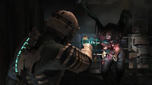 I Dead Space-spelen sitter hälsomätaren i Isaacs dräkt på ryggen.