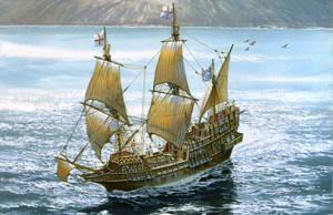 Pelikanen - eller Den gyllene hinden som den senare bytte namn till. Poster från SM&S Naval Prints, Inc.