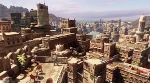 Stadsmiljöerna i de gamla delarna av staden i Jemen påminner en hel del om verklighetens Sanaa, Jemens nuvarande huvudstad.