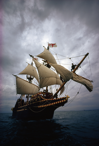 A reproduction of Sir Francis Drake's ship, the Golden Hind.