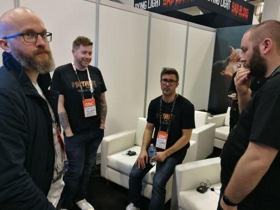 Ulf Andersson, Mark Parker, David Skarin och Lee Varley pustar ut mellan medievisningarna av Mutant Year Zero: Road to Eden.