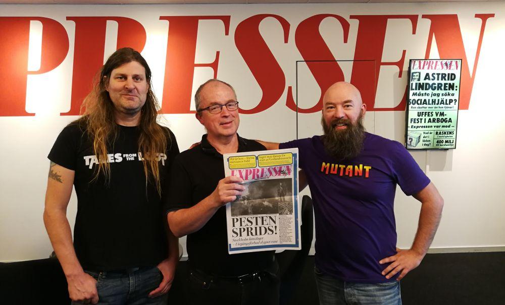 Orvar Säfström, Lennart Nilsson och Jimmy Wilhelmsson på Expressen